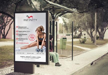 Plakat dla siłowni Infinity w Grybowie